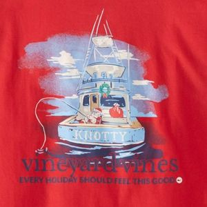 Vineyard Vines Knotty Santa Red Long Sleeve Shirt